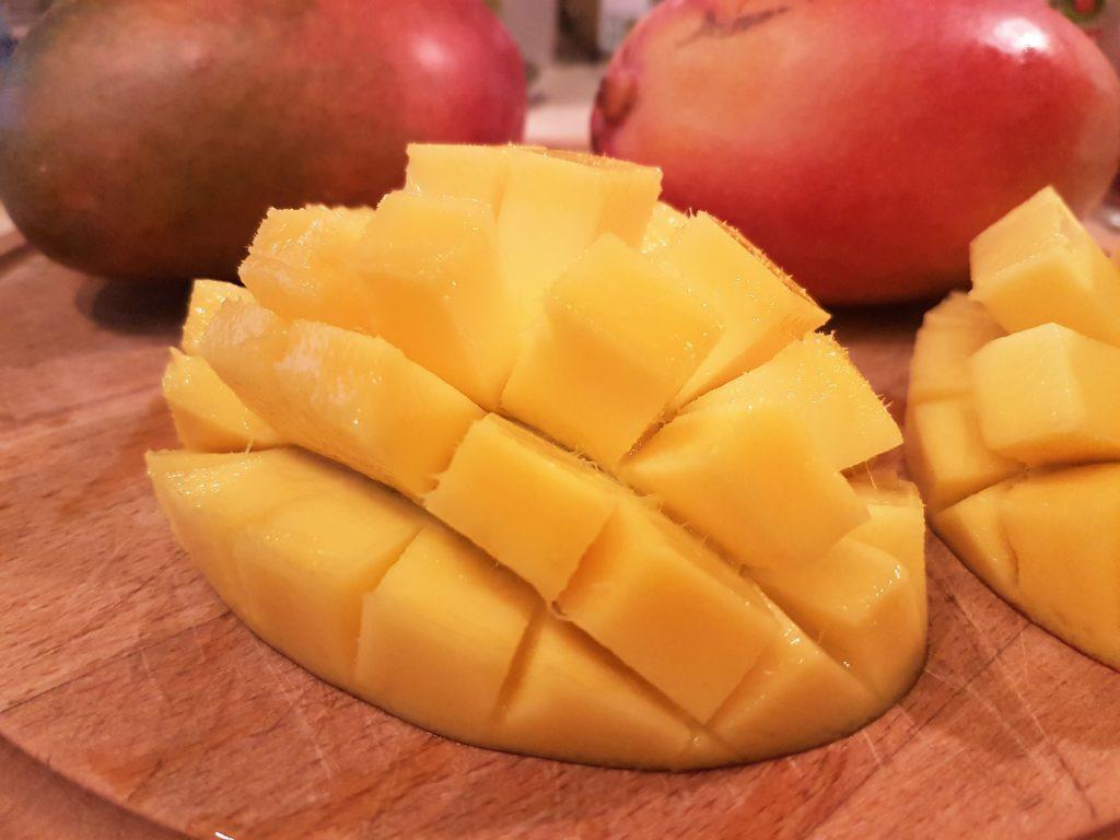 Peeling and cutting the mango