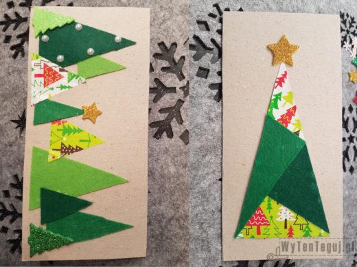 Gotowe kartki z filcu i kolorowej taśmy