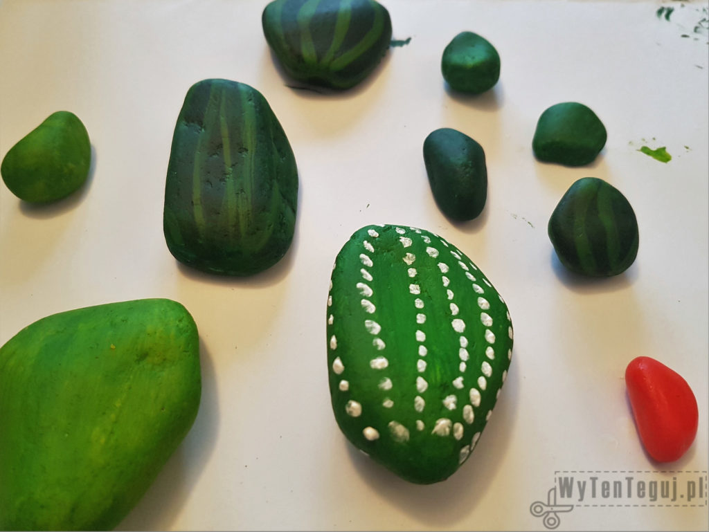 Painted rocks cacti in progress