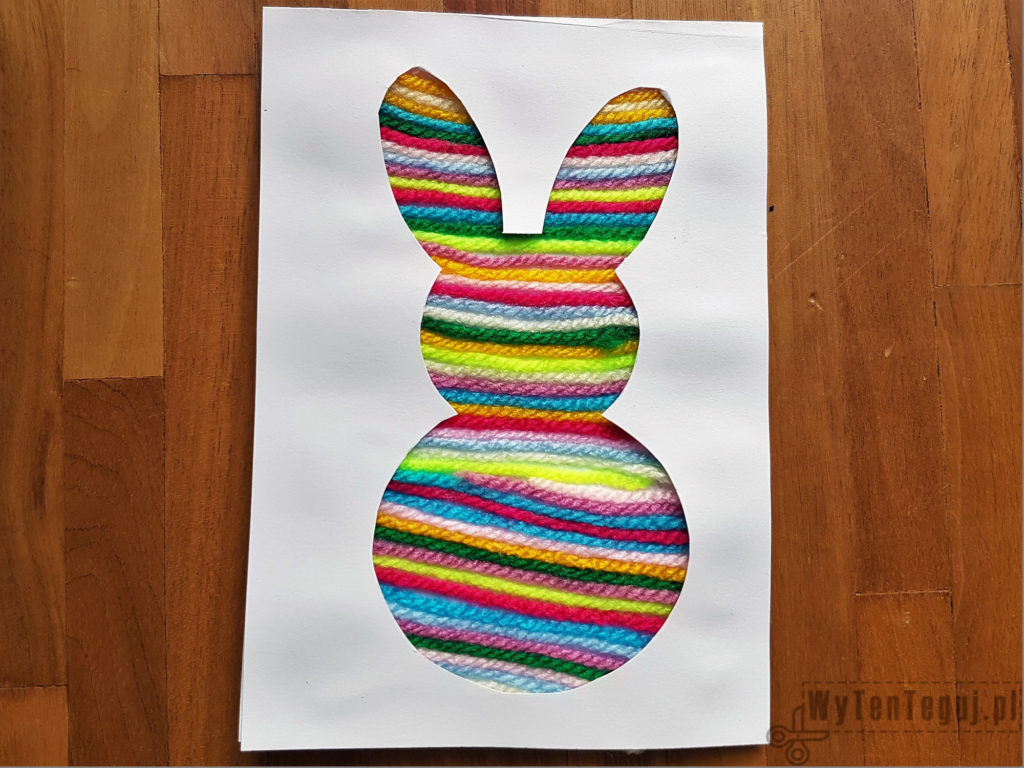 Easter card with yarn rabbit