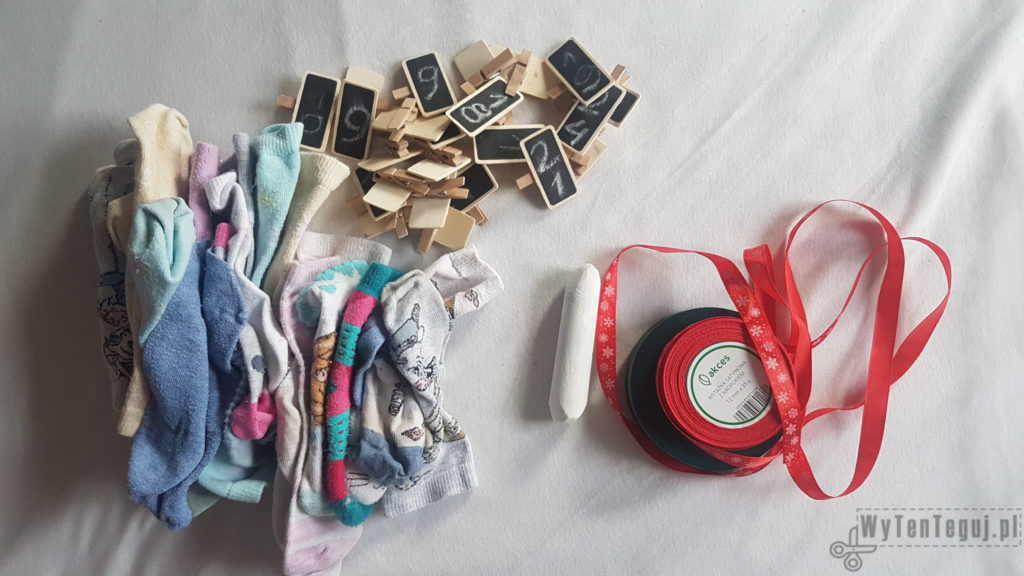 Supplies for socks advent calendar