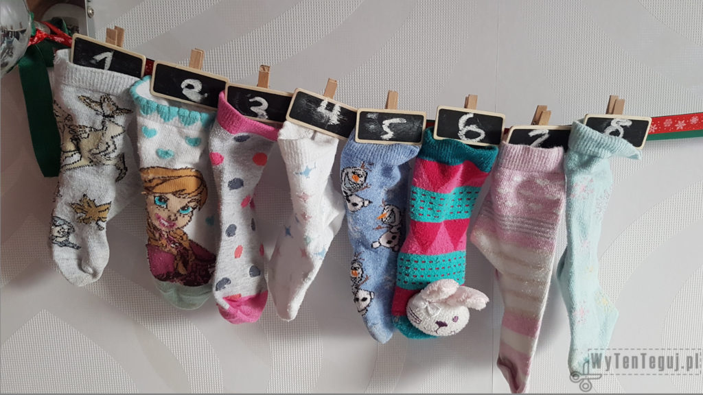 Hanging socks with numbered clips