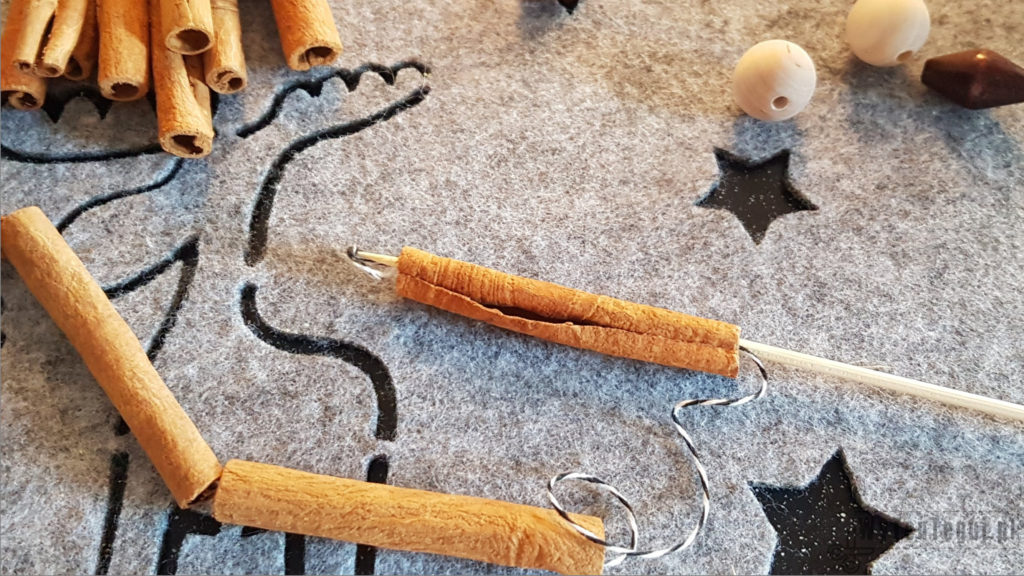 Threading cinnamon sticks