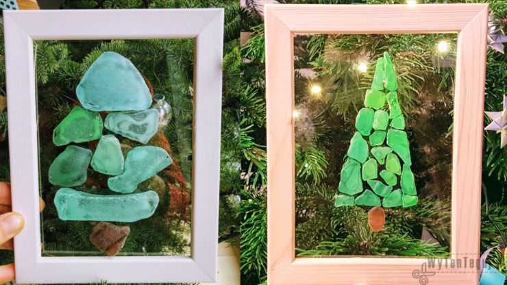Christmas sea glass art