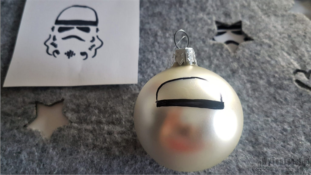 Drawing of Stormtrooper on a Christmas bauble