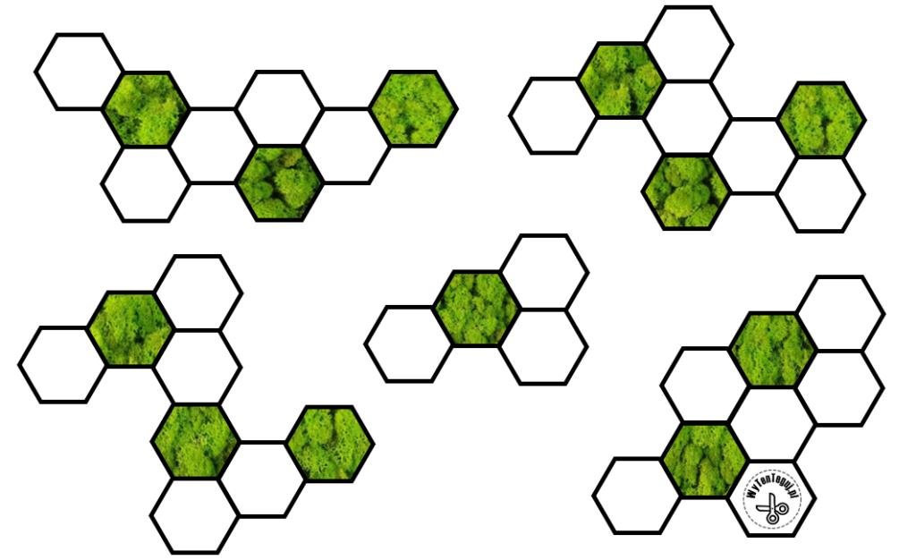 Hexagonal mosaic patterns