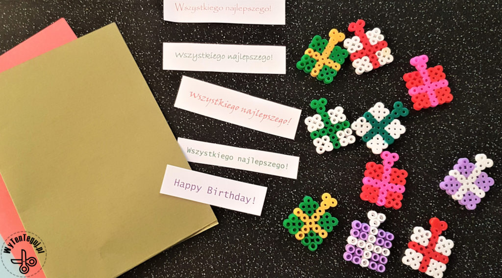 Making birthday cards with hama beads