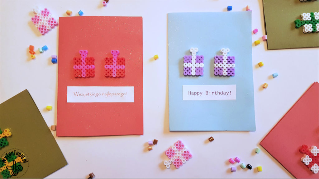 Hama beads birthday cards