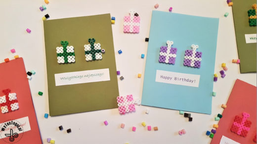 Hama beads birthday cards