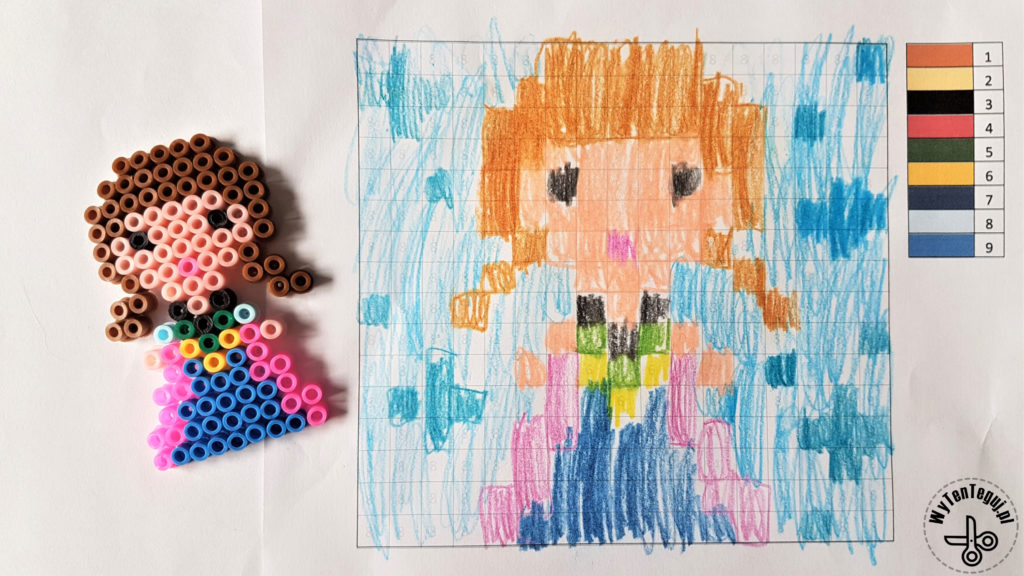 Coloring by numbers - coded images of princesses