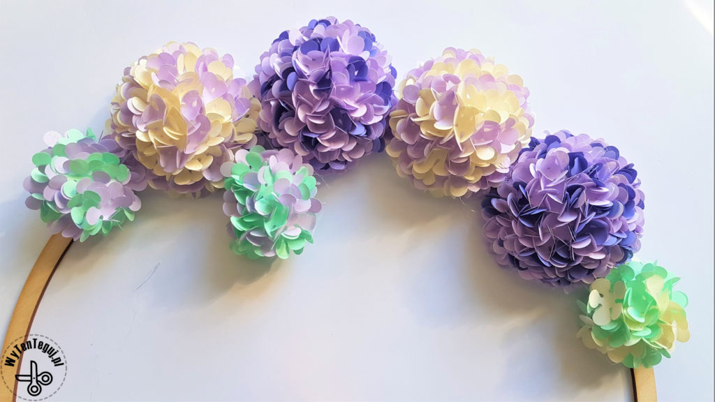 Glued paper hydrangea flower