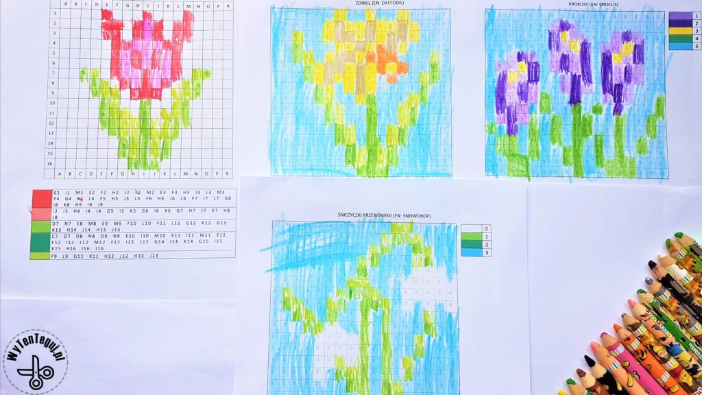 Coded images of spring flowers