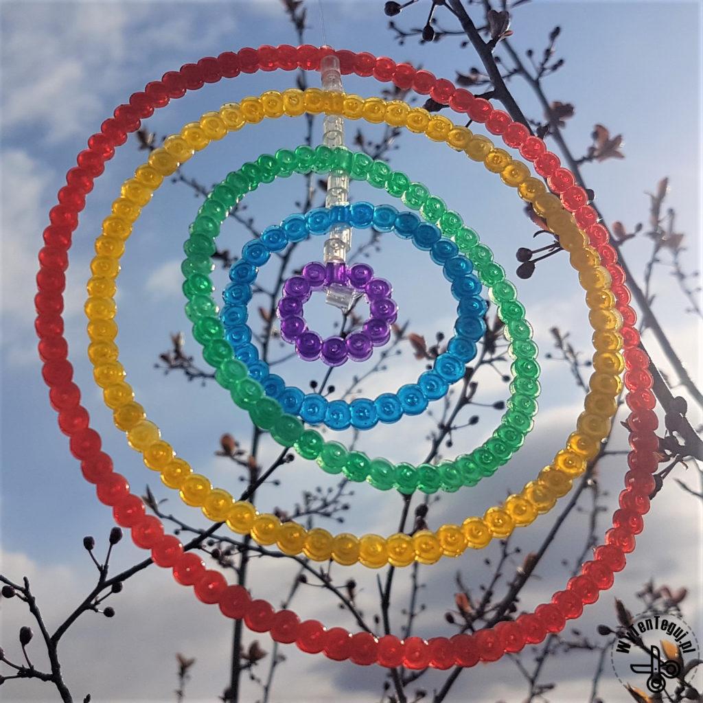 Spinning perler bead hoops