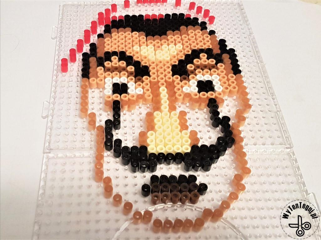 Salvador Dali's face out of perler beads