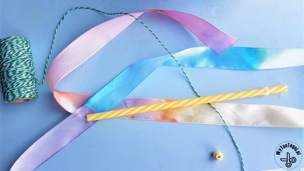 Making of rainbow gymnastics ribbon