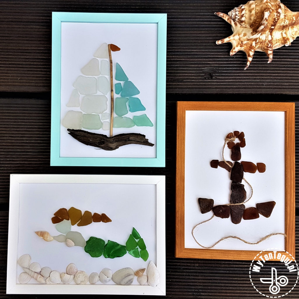 Beach craft with sea glass and drift wood