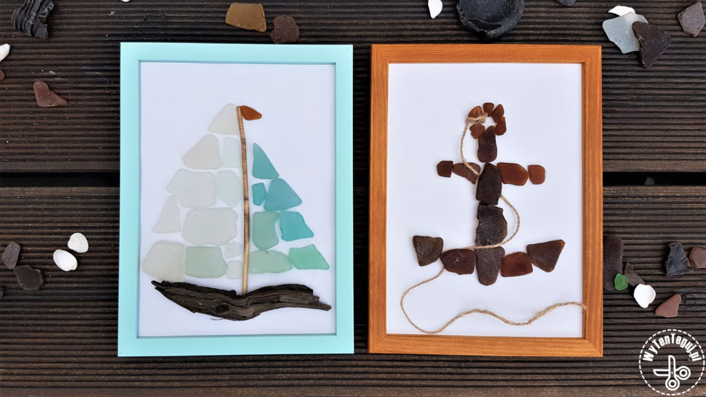 Beach craft: sea glass yacht and anchor