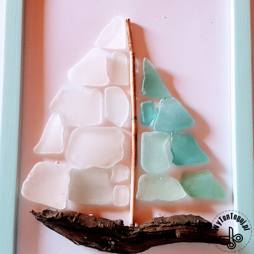 Seaglass and driftwood yacht