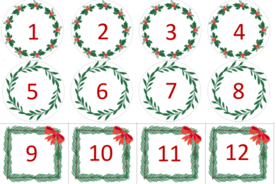 Numbers for advent calendar
