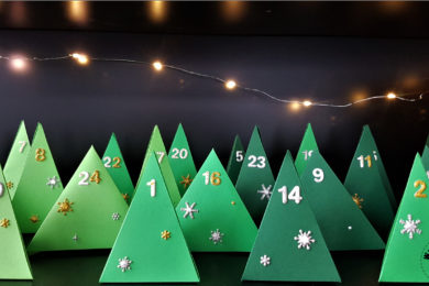 Paper Christmas tree advent calendar