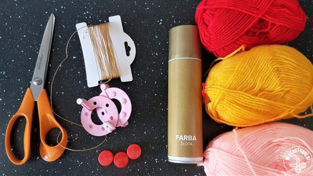 Supplies for pom pom Christmas baubles