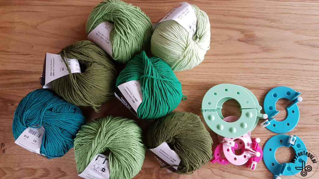 Supplies for green pom poms