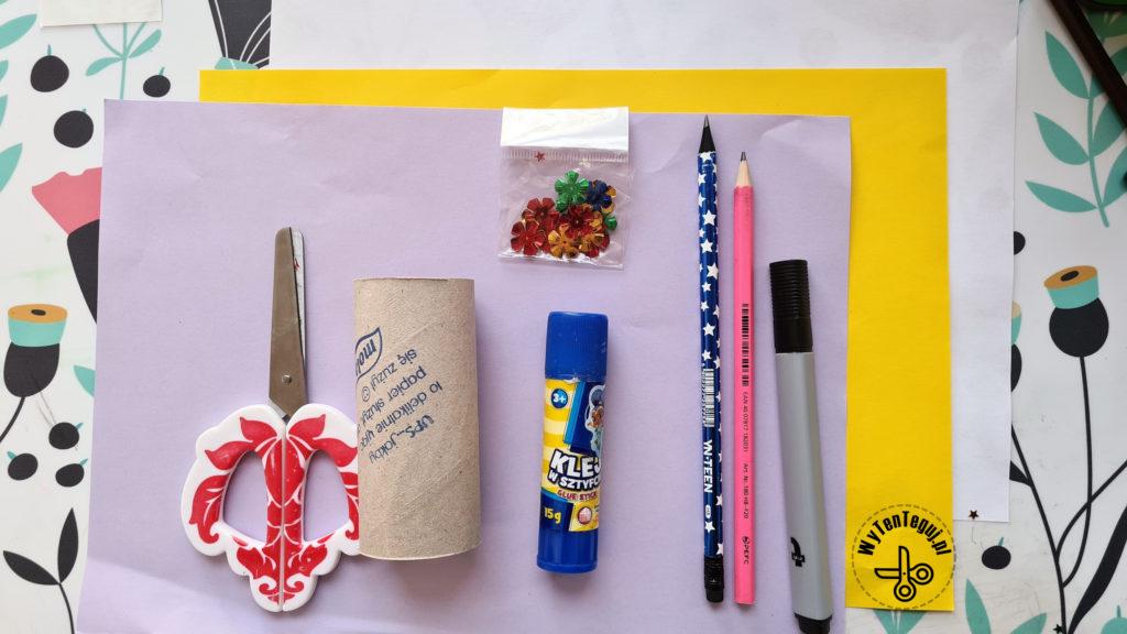 Materiały na królika z rolki po papierze