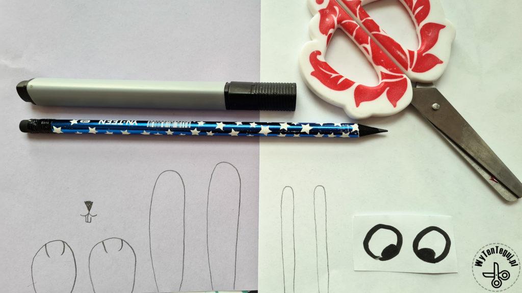 Narysowane elementy królika