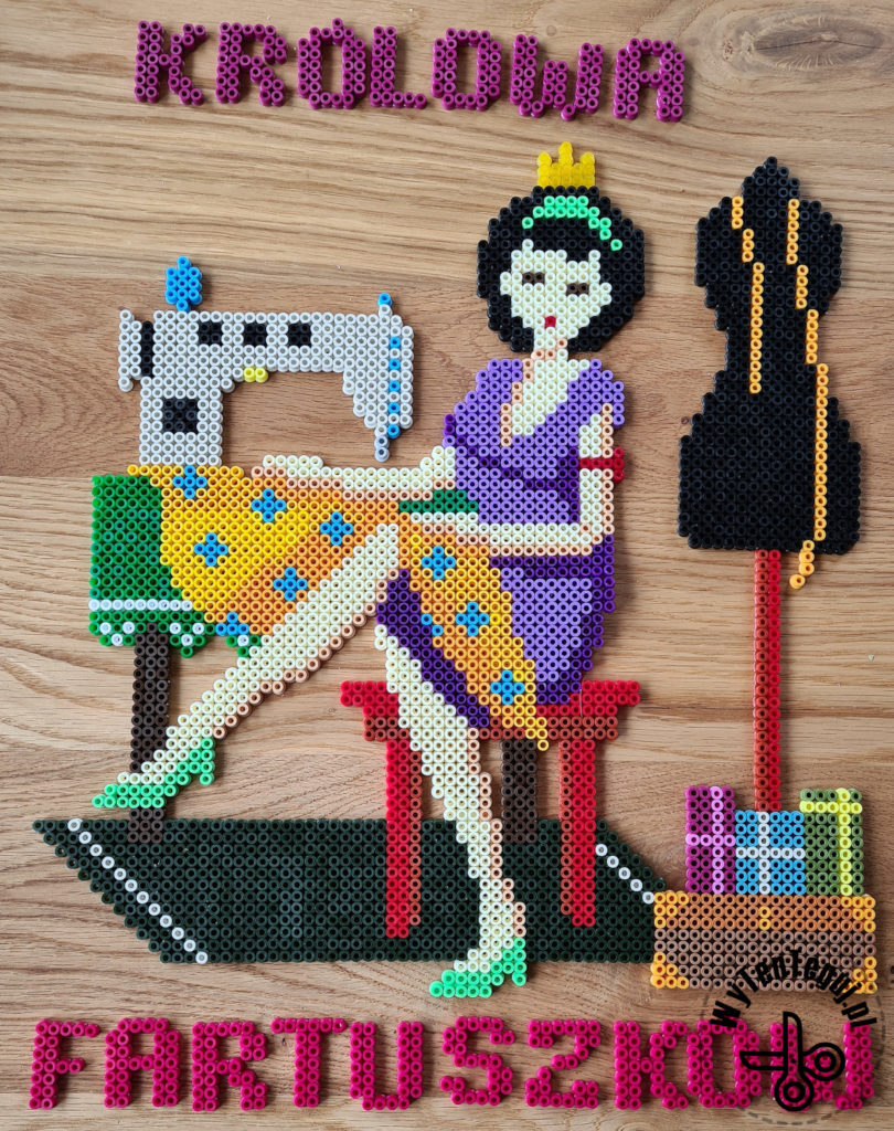 All elements for 'Apron queen' picture out of Hama beads