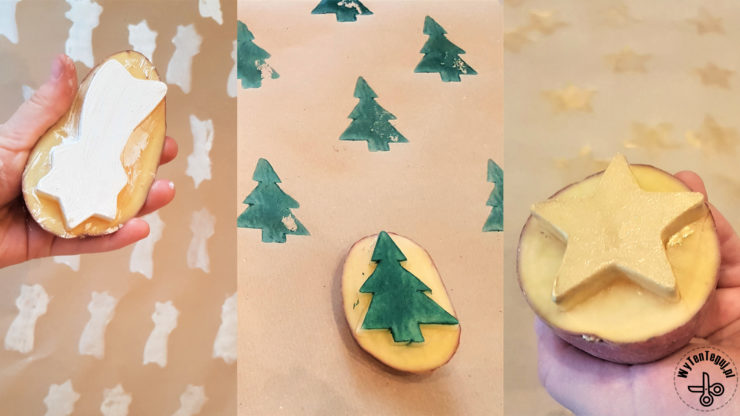potato stamps and Christmas wrapping paper DIY
