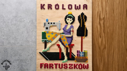 'Apron queen' picture out of Hama beads - handmade gift idea