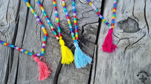 hama bead and tassel necklace